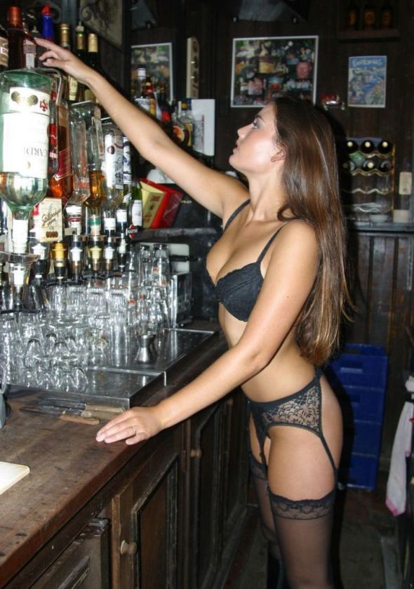 sexy barmaid stockings suspenders long hair hot babe